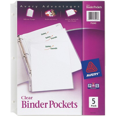 avery clear binder pockets 3 ring 5 pack mbabp35c paperrolls