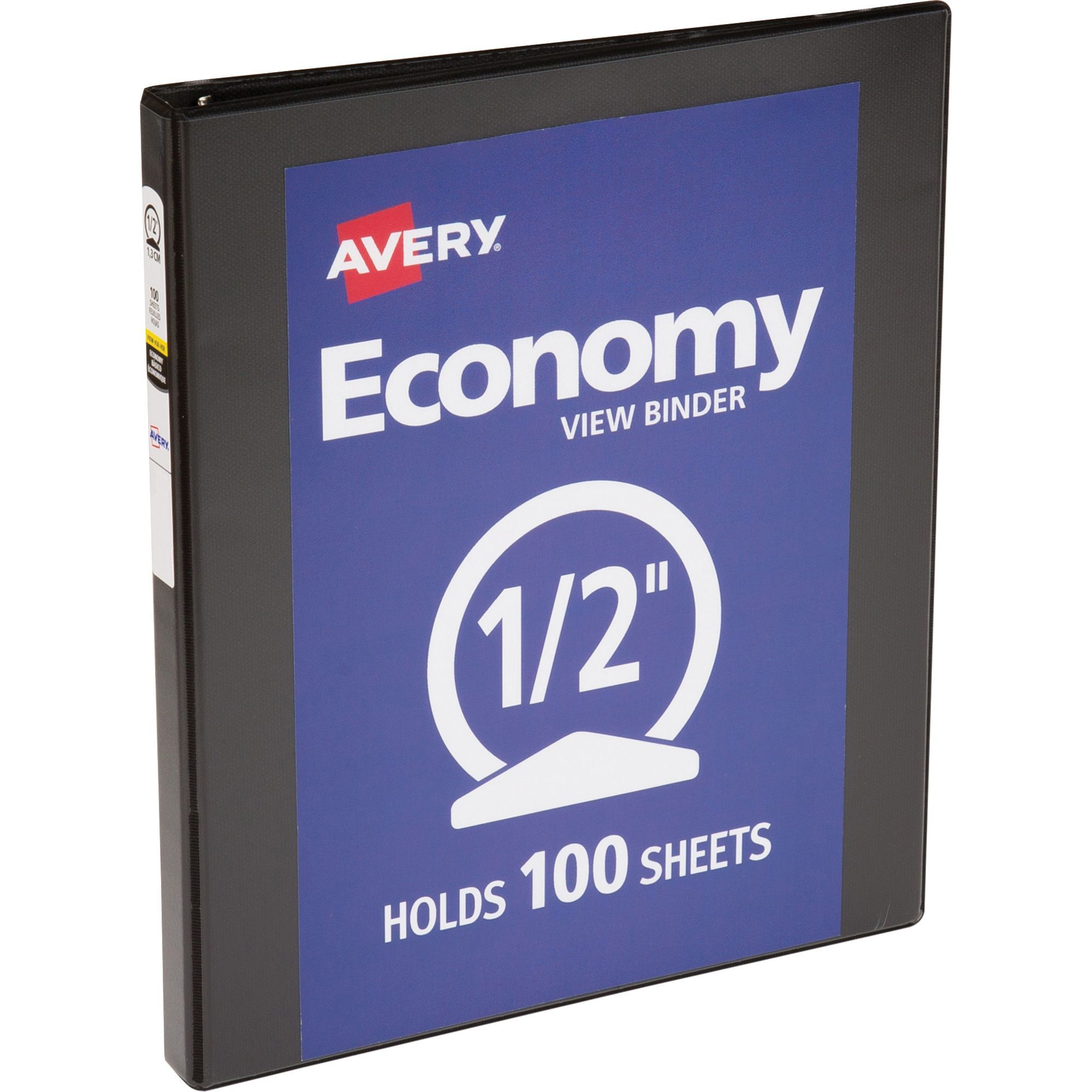 avery economy round ring view binders 1 2 to 3 widths black