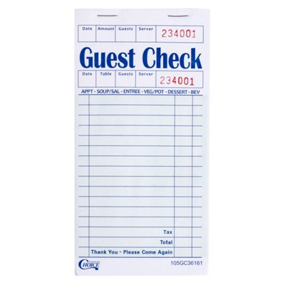 1 Part Guest Checks, Green/White, 16 Lines, 100/Book 50/Case 1 Part Guest Checks, Guest Checks