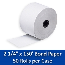"2 1/4"" x 150 Bond Paper Rolls - 50/box Calculator rolls  2 1/4 bond paper rolls, bond paper rolls"