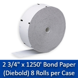 "2 3/4"" x 1250 Diebold Bond Receipt Paper Rolls 8/Case (w/Sense Mark) 2 3/4"" x 1250 Diebold Bond"