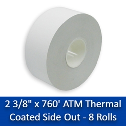 "2 3/8"" x 760 ATM Thermal Receipt Paper Rolls 8/Case (CSO) 2 3/8"" x 760 Thermal"