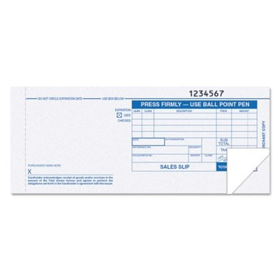 2-Part Credit Card Sales Imprint Slips, Long, 100 Slips Credit Card Imprint Slips, 2-Part Sales Slips