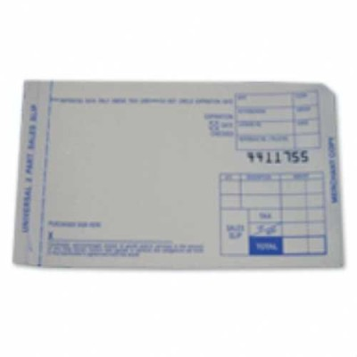 2-Part Credit Card Sales Imprint Slips, Short, 100 slips Credit Card Imprint Slips, 2-Part Sales Slips