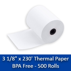"3-1/8"" x 230 Thermal Paper Rolls - 10 Cases(500 rolls) BPA Free  thermal paper rolls 3 1/8, 3 1/8"" x 230, thermal paper rolls, thermal paper 3 1/8, 3 1 8 paper rolls, 3 1 8 thermal paper rolls ,3 1 8 thermal paper, thermal paper 3 1 8, 3 1/8 thermal paper, 3 1/8"" x 230"