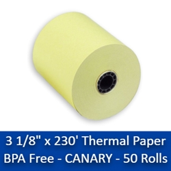 "3 1/8"" x 230 Thermal Paper Rolls Canary 50/box BPA Free canary thermal paper rolls,colored thermal paper rolls, canary paper rolls, thermal paper rolls 3 1/8, 3 1/8"" x 230, thermal paper rolls, thermal paper 3 1/8, 3 1 8 paper rolls, 3 1 8 thermal paper rolls ,3 1 8 thermal paper, thermal paper 3 1 8, 3 1/8 thermal paper, 3 1/8"" x 230"