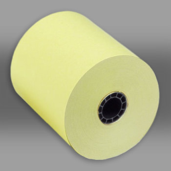 "3"" x 165 Canary 1-Ply Bond Paper Rolls 50/box colored paperrolls, 3 x 165 paper rolls, canary paper rolls"
