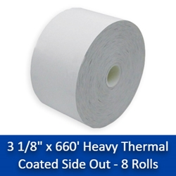 "3 1/8"" x 660 Heavy Thermal Receipt Paper Rolls 8/Case (CSO) 3 1/8"" x 660, thermal paper rolls 3 1/8, thermal paper rolls, thermal paper 3 1/8, 3 1 8 paper rolls, 3 1 8 thermal paper rolls ,3 1 8 thermal paper, thermal paper 3 1 8, 3 1/8 thermal paper"