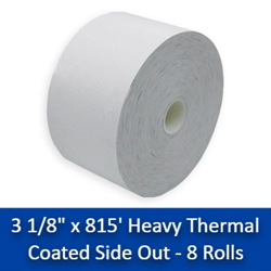 "3 1/8"" x 815 Heavy Thermal Receipt Paper Rolls 8/Case (CSO) 3 1/8"" x 815, thermal paper rolls 3 1/8, thermal paper rolls, thermal paper 3 1/8, 3 1 8 paper rolls, 3 1 8 thermal paper rolls ,3 1 8 thermal paper, thermal paper 3 1 8, 3 1/8 thermal paper"