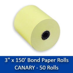"3"" x 150 Canary Bond Paper Rolls 50/box yellow paper rolls, yellow carbonless paper rolls"
