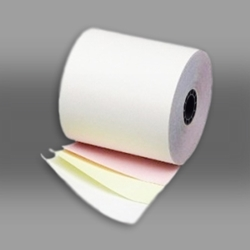"3"" x 70 3-Ply White/Canary/Pink Paper Rolls 50/box white/canary paper rolls, white/canary carbonless paper rolls"