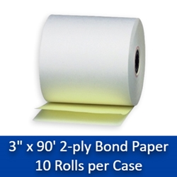 "3"" x 90 2-Ply White/Canary Carbonless Paper Rolls 10/bx Free Shipping 3"" x 90 2-Ply White/Canary Carbonless Paper Rolls 10/box"