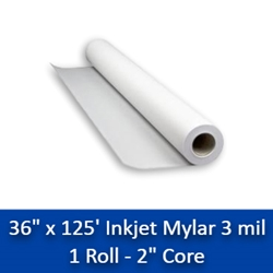 "36"" x 125 3 mil Erasable Inkjet Double Matte Mylar Film 1 Roll 36 x 125, mylar, double matte mylar"
