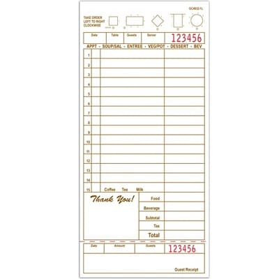 Choice 1 Part Loose Paper Guest Checks G4932 - 2000 Checks Total guest check 4932, guest checks, 1 part guest check, G4932, order pads, server pads, restaurant pads, restaurant guest checks