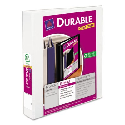 "Durable View Binder w/Slant Rings - 11"" x 8 1/2"" - 1 1/2"" W - White Binder, 1 1/2"" BINDER"