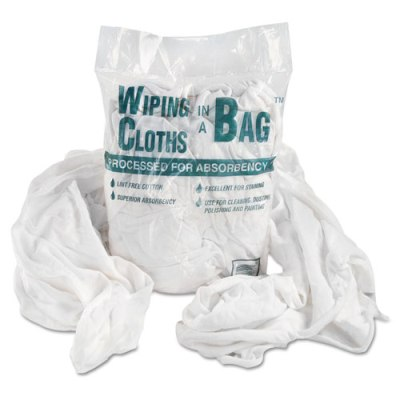 Bag-A-Rags Reusable Wiping Cloths, Cotton, White, 1lb Pack rags, wiping cloth