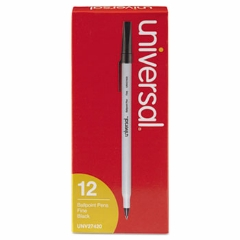 Ballpoint Stick Oil-Based Black Pen,  Fine Tip, 12/Pack Pen, Black pens