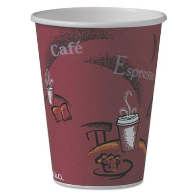 Bistro Design Hot Drink Cups, Paper, 12oz, Maroon, 50/Pack Hot Drink Cups, coffee cup