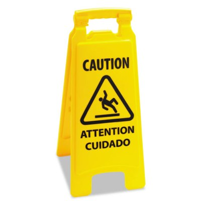 Caution Safety Sign For Wet Floors, 2-Sided, Plastic, 11 x 26, Yellow Caution Sign, Wet Floors sign