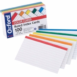 Color Coded Ruled Index Cards, 3 x 5, Assorted Colors, 100/Pack Index Cards