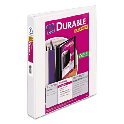 "Durable View Binder w/Slant Rings - 11"" x 8 1/2"" - 1"" W - White Binder, 1"" BINDER"