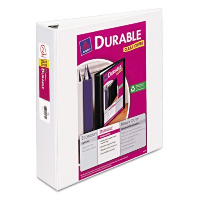 "Durable View Binder w/Slant Rings - 11"" x 8 1/2"" - 2"" W - White Binder, 2"" BINDER"
