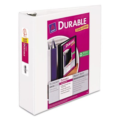 "Durable View Binder w/Slant Rings - 11"" x 8 1/2"" - 3"" W - White Binder, 3"" BINDER"