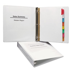 "Economy View Binder w/Round Rings - 11"" x 8 1/2"" - 1 1/2"" W - White Binder, 1 1/2"" BINDER"