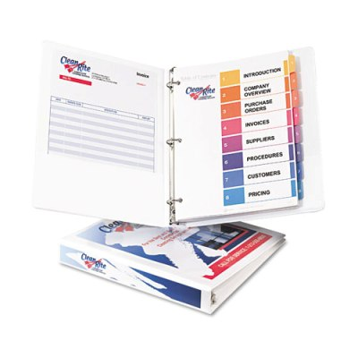 "Economy View Binder w/Round Rings - 11"" x 8 1/2"" - 1"" W - White Binder, 1"" BINDER"