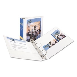 "Economy View Binder w/Round Rings - 11"" x 8 1/2"" - 3"" W - White Binder, 3"" BINDER"