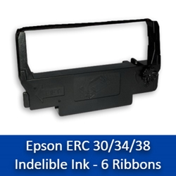 Epson ERC 30/34/38 Black Indelible Ink Printer Ribbons - 6/box (918L) erc 30/34/38 printer ribbons, erc 30, erc 34, erc 38