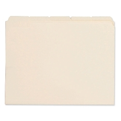 File Folders, 1/3 Cut Assorted, One-Ply Top Tab, Letter, Manila, 100/Box File Folders, 1/3 Cut folders