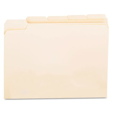 File Folders, 1/5 Cut Assorted, One-Ply Top Tab, Letter, Manila, 100/Box File Folders, 1/5 Cut folders