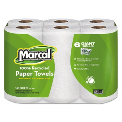 "Giant Roll Towels, 5 3/4"" x 11"", 140/Roll, 6 Rolls/Pack paper Towels"