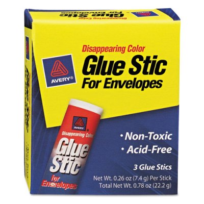 Glue Stick for Envelopes, .26 oz, Stick, 3/Pack Envelope Glue
