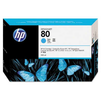 HP 80 - Ink Cartridge - Cyan 350ml (C4846A) HP 80, DESIGNJET 1050 ink, C4846A