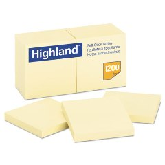Highland Self-Stick Pads 3x3 Yellow, 100 Sheets/Pad, 12 Pads/Pack  STICKY NOTES