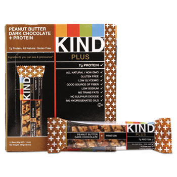 KIND Plus Nutrition Boost Bar, Peanut Butter Dark Chocolate, 1.4 oz, 12/Box Nutrition Bar, protien bar