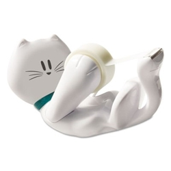 "Kitty Tape Dispenser w/ 1 roll of 3/4"" x 350"" Magic Tape, White Kitty Tape Dispenser"