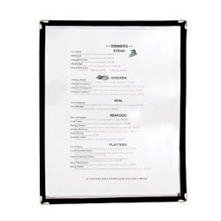 "Menu Cover Double-Sided, Black - 9 1/4"" x 12"" menu cover, clear menu cover, double sided menu cover"