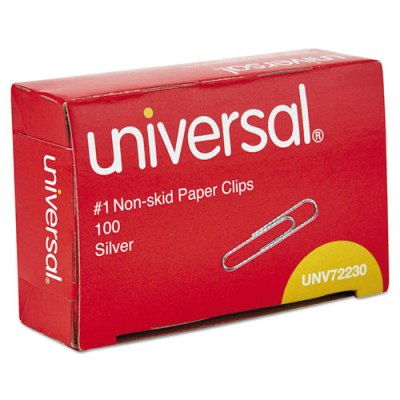 Nonskid Paper Clips, No.1, 100/Box Paper Clips
