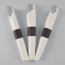 Black Paper Napkin Bands - 10,000/cs - Self-Adhering napkin bands, restaurant napkin bands, adhesive napkin bands, paper napkin bands, self-adhering napkin bands