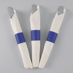 Blue Paper Napkin Bands - 10,000/cs - Self-Adhering napkin bands, restaurant napkin bands, adhesive napkin bands, paper napkin bands, self-adhering napkin bands