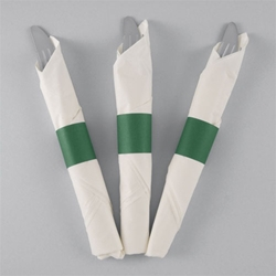 Green Paper Napkin Bands - 10,000/cs - Self-Adhering napkin bands, restaurant napkin bands, adhesive napkin bands, paper napkin bands, self-adhering napkin bands