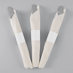 White Paper Napkin Bands - 10,000/cs - Self-Adhering napkin bands, restaurant napkin bands, adhesive napkin bands, paper napkin bands, self-adhering napkin bands