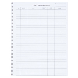 Reservation Book Replacement Sheets, 50/Pack Reservation Book, replacement sheets, reservation book sheets