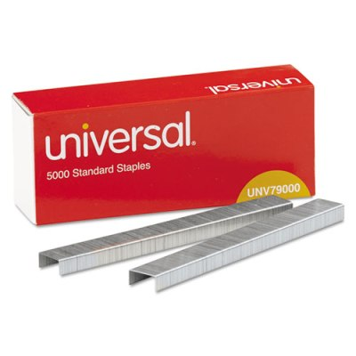 Universal Standard Staples Chisel Point - 210 Strip - 5000/Box, 5 Boxes Staples