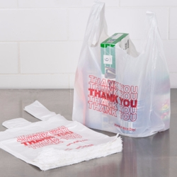 "White Thank You Bag, 10"" x 18"", 0.51mil, 1000/Carton T-shirt bags, Thank You Bags"