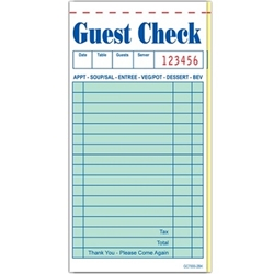 2-Part Carbonless Guest Checks (G7000), 50/Book,10 Books-Free Shipping guest checks, 2 part guest check, G7000, order pads, server pads, restaurant pads, restaurant guest checks