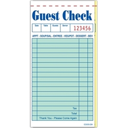 Two-Part Interleaved Carbon Guest Checks (G6000), 50/Books 50/Case guest checks, 2 part guest check, G6000, order pads, server pads, restaurant pads, restaurant guest checks